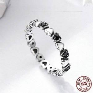 DHgate cluster rings genuine 925 sterling silver stackable ring heart black cz finger for women wedding anniversary jewelry anel scr140