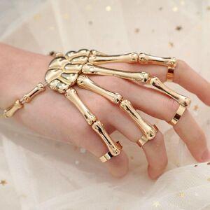 DHgate halloween bracelet for women gothic punk hand skull skeleton elasticity adjustable bangles femme party accessories charm bracelets