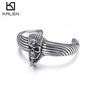 DHgate bangles bracelet chaozhou personality punk jewelry stainless steel casting c-shaped opening skull