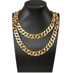 DHgate 15mm hip hop bling super flash cuban chain domineering necklace men's jewelry chains