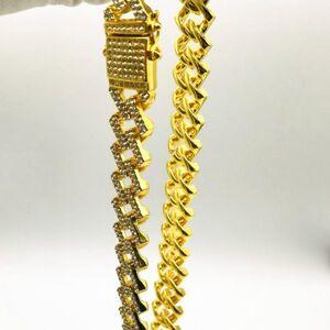 DHgate fashion hip hop 15mm diamond cuban necklace gold plated bracelet chains