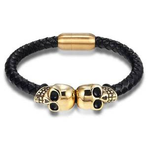 DHgate fashion genuine leather punk skull man bracelets & bangles fashion bracelet for man jewelry with color protection