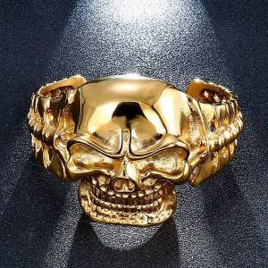 DHgate punk skull bracelet men stainless steel casting ancient c shape open woman ghost head for father boyfriend brother gift bangle