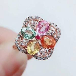 DHgate cluster rings per jewelry natural real colorful tourmaline ring 0.45ct*4pcs gemstone 925 sterling silver flower q2041615