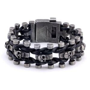 DHgate link, chain genuine leather weaving stainless steel skulls bracelets bangle biker cool punk gothic bracelet men vintage jewelry