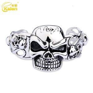 DHgate bangles bracelet karun jewelry titanium steel men's trendy skull head domineering