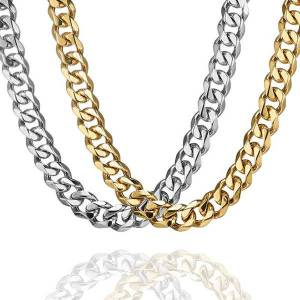 DHgate 15mm wide curb cuban link chan necklace steel color/gold tone 316l stainless jewelry solid chain punk men's gift chains