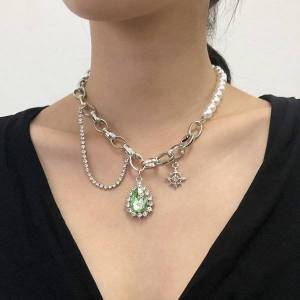 DHgate n7996 necklace net red girl cool wind street pat pearl inlaid diamond temperament
