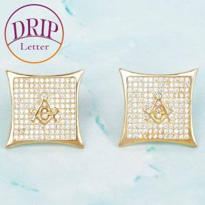 DHgate gold color cubic zircon square masonic asonry stud earring 15mm for men hip hop jewelry gift