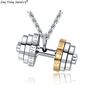 DHgate pendant necklaces 2021 jingyang fitness mannelijke ketting roestvrij staal paar sport vrouwen accessoires met hanger