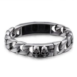 DHgate link, chain heavy solid stainless steel gothic skeleton bracelet men punk rock skull link bracelets & bangles male jewelry