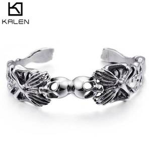 DHgate bangles bracelet exaggerated personality skull opening hollow stainless steel halloween jewelry