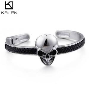 DHgate bangles bracelet jewelry stainless steel skull handpiece personalized punk woven leather men's