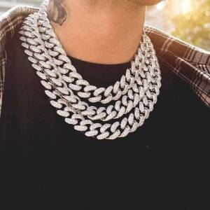 DHgate iced out bling rhinestone chains silver golden finish miami cuban link chain necklace 15mm mens hip hop necklace jewelry 210 q2