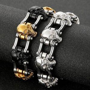 DHgate link, chain punk men's bicycle bike bracelets & bangles black motorcycle bracelet men 316l stainless steel skull link biker jewelry