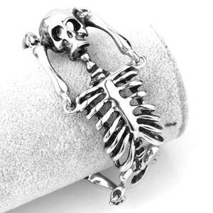 DHgate cool punk men's 316l stainless steel skull skeleton link bracelet bangle jewelry 34.8mm*21cm charm bracelets