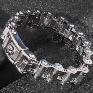 DHgate link, chain men bracelet skull 16mm wide stainless steel cycling bicycle men's bracelets & bangles hiphop jewelry gifts for masculine