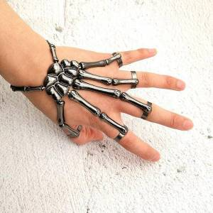 DHgate bangle halloween bracelet for men fashion punk exaggerated metal texture with finger ghost hand skull gothic party