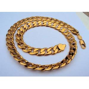 DHgate chains heavy 108g 24k gf stamp yellow gold 23.6 men's necklace 12mm curb chain jewelry packaged with 7 days no reason to refund.