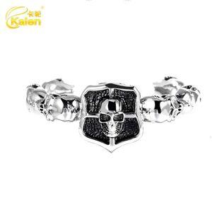 DHgate bangles bracelet jewelry men's bamboo skull titanium steel personality fashion punk straight