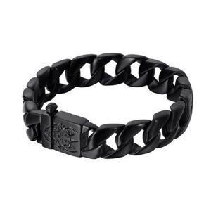 DHgate link, chain thick solid gold black stainless steel men curb cuban bracelet male biker skull hand jewelry mens bracelets & bangle 15mm