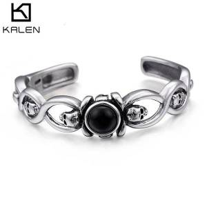 DHgate bangles bracelet rock and roll stainless steel skull domineering goethe locomotive style accessory opening