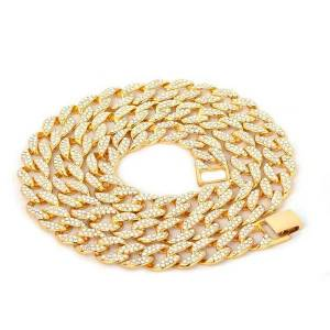 DHgate iced out bling rhinestone chains silver golden finish cuban link chain necklace 15mm mens hip hop necklace jewelry 16 18 20 24inch 637 k2