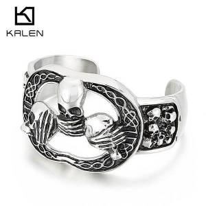 DHgate bangles bracelet stainless steel jewelry punk exaggerated personality hollow out men's skull titanium open