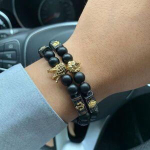 DHgate charm bracelets pave luxury cubic zirconia lion crown skull charms bracelet stone beads men & bangles for jewelry pulsera hombre