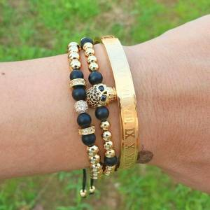 DHgate luxury 3pcs/set stainless steel bracelets & bangles hip hop men jewelry roman number charm gold color skull bracelet for bangle