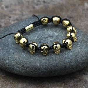 DHgate charm bracelets vintage stainless steel skull bracelet men braided wrap beads bangle male jewelry pulseras hombre bt-07