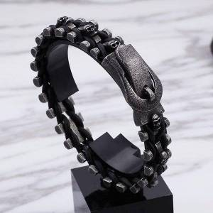 DHgate link, chain mens stainless steel bracelets skull retro punk bracelet black link wrist bracelets&bangles fashion jewelry