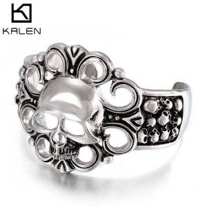 DHgate bangles bracelet exaggerated stainless steel jewelry skull hollow wide open accessories