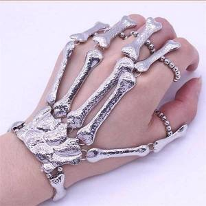 DHgate link, chain zrm punk gothic skull bracelet hand bone bangles flexible metal bracelets for women men nightclub party hip hop jewelry