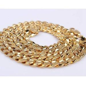 DHgate smooth cuban chain 18k yellow gold filled womens mens curb necklace chain 24 inches