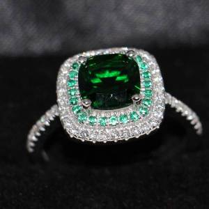 DHgate size 5-10 luxury jewelry 100% pure 925 sterling silver cushion cut handmade emerald 5a white cz wedding women band pave ring for lover gift
