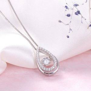 DHgate smart necklace 925 sterling silver pendant drop shape new jewelry collarbone necklace size 15.33*10.1 weight 1.31 grams