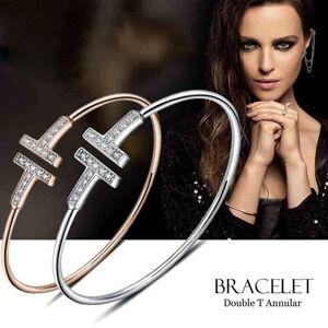 DHgate titanium steel double t rose gold silver diamond luxury designer jewelry women bracelets bangle men bracelets