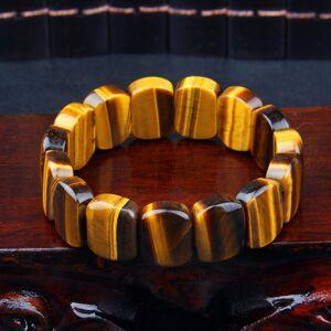 DHgate high grade natural yellow tiger eyes stone bracelets rectangle 11x15mm beads fashion women men bracelet jewelry birthday gifts