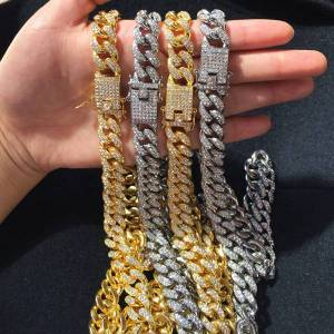 DHgate bling diamond chains necklace mens cuban link chain necklaces hip hop personalized jewelry for women men kimter-m026f