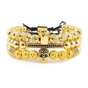 DHgate charm bracelets 3pcs/set men bracelet king crown pattern beads cz skeleton skull ball charms men's & bangles for jewelry