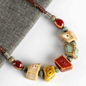 DHgate colorful irregular shape ceramic beads neckalce artware antique silver wholesale necklaces & pendants for women #fy567