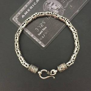 DHgate solid ilver 925 byzantine chain bracelet men vintage simple design dia 5mm 100% real 925 sterling silver cool mens jewelry gifts