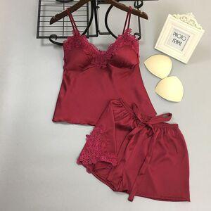 DHgate ice silk women pajama set bigh bow with pad female summer pijama