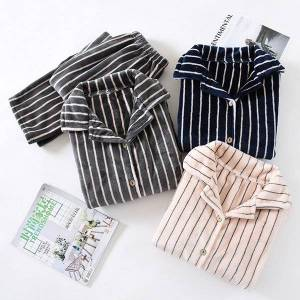 DHgate 2021 new flannel couple striped pajamas set 2 pieces thick winter female male coral fleece lapel simple warm sleepwear wmhs