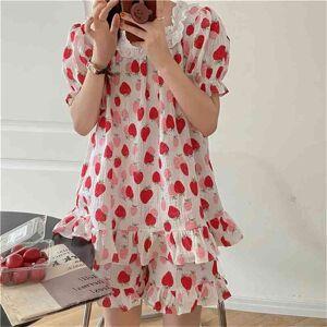 DHgate women's sleepwear korean chic 2021 sweet femme cotton casual girls ruffles summer homewear loose all match pajamas sets 8fsd