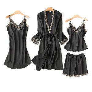 DHgate 2021 women pajamas set satin pyjama lace pijama mujer lingerie elegant nightwear silk 4 pieces flower print sleepwear