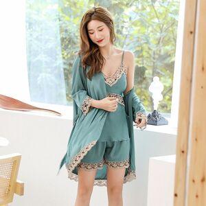 DHgate 2021 new 5 pcs women's silk satin sleepwear pajamas summer sling shorts lace robe set for woman loungewear vhjc