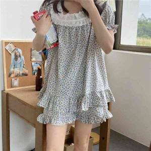 DHgate women's sleepwear home chic lace sweet 2021 pajama sets summer soft casual femme loose women cotton floral two piece suits uafh