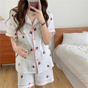 DHgate women's sleepwear soft 2021 printed summer stylish loose homewear cotton chic femme vintage sweet casual pajamas sets ljqv